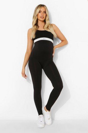 Black Maternity Seamless Full Length Leggings