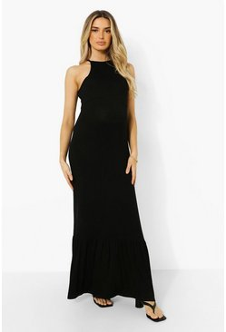 Black Maternity Halter Frill Hem Maxi Dress