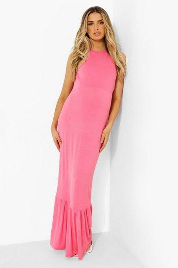 Coral pink Maternity Halter Frill Hem Maxi Dress