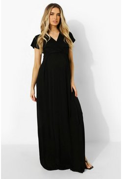 Black Maternity Wrap Tie Waist Maxi Dress