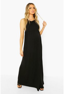 Black Maternity Scoop Neck Smock Maxi Dress