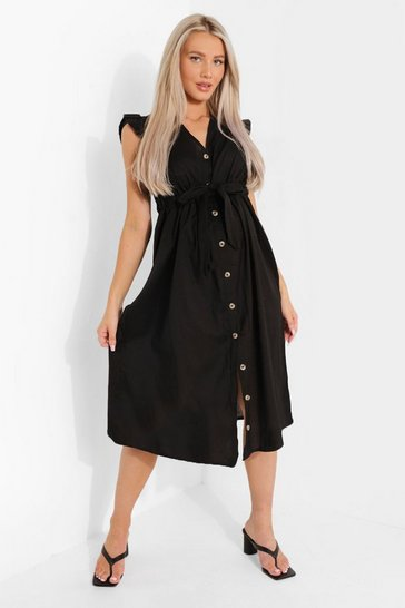 Black Maternity Cotton Button Down Midi Dress