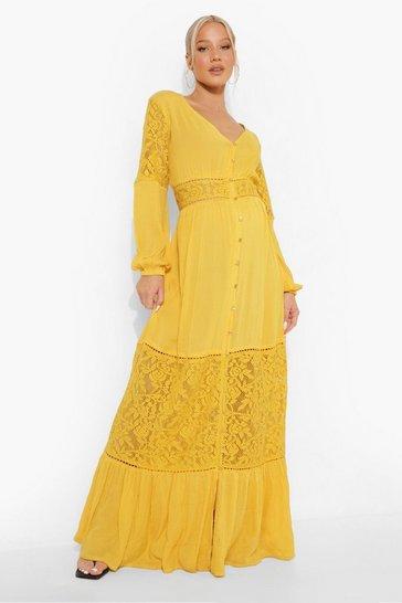 Ochre yellow Maternity Boho Lace Insert Maxi Dress