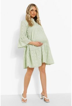 Mint green Maternity Broderie Tiered Smock Dress