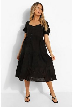 Black Maternity Broderie Button Front Midi Dress