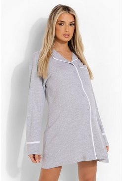 Grey Maternity Jersey Button Through Nightie
