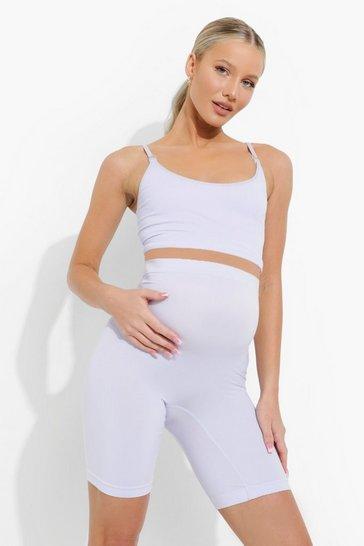 Lilac purple Maternity Seamless Longline Nursing Bra