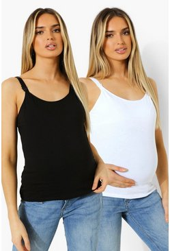 Blackwhite black Maternity 2pack Nursing Cami