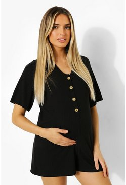 Maternity Button Front Soft Rib Romper, Black nero