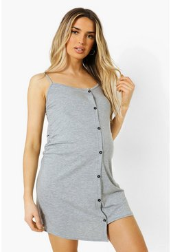 Grey Maternity Strappy Button Front Nightie