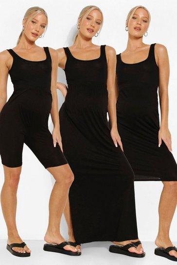 Black Maternity Skirt And Short 3pack