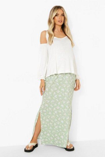 Sage green Maternity Side Split Floral Maxi Skirt