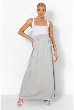 Grey Maternity Floor Sweeping Maxi Skirt