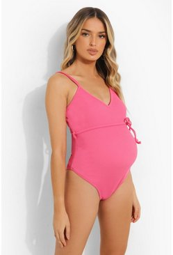 Orange Maternity Crinkle Tie Waist Swimsuit