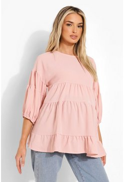 Rose pink Maternity Linen Tiered Smock Top