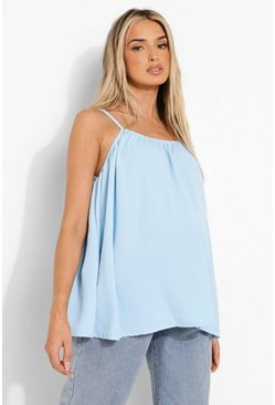 Blue Maternity Woven Linen Swing Cami Top