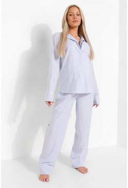Blue Maternity Cotton Stripe Trouser Pj Set