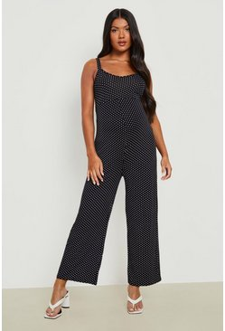 Black Maternity Polka Dot Culotte Jumpsuit