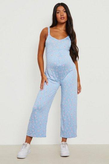 Blue Maternity Floral Culotte Jumpsuit