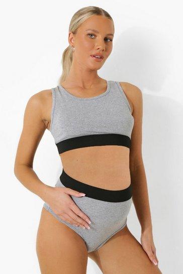 Grey Maternity Basic Jersey Bralet Set