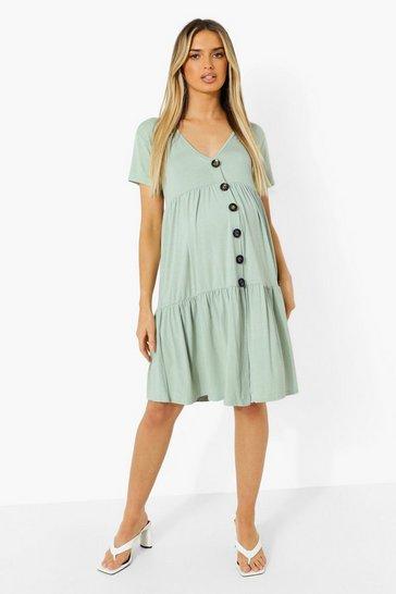 Sage green Maternity Button Front V Neck Smock Dress