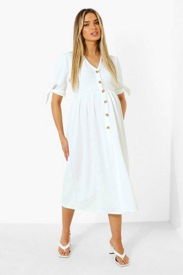 Ivory white Maternity Button Down Midi Dress