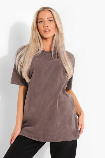 Chocolate brown Brown Maternity Oversized Washed T-Shirt