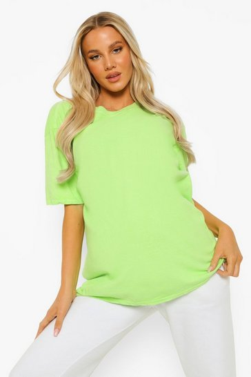 Lime green Green Maternity Oversized Washed T-Shirt
