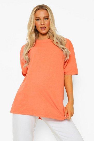 Orange Maternity Oversized Washed T-Shirt