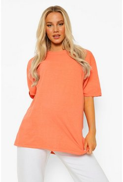 Orange Maternity Oversized Washed T-shirt