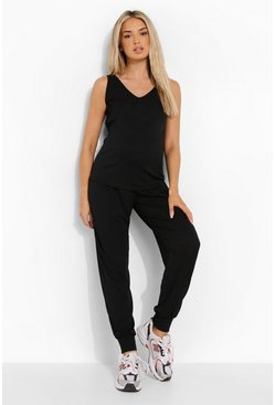 Black Maternity Vest And Jogger Premium Rib Set