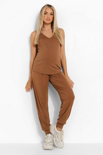 Toffee beige Maternity Vest And Jogger Premium Rib Set