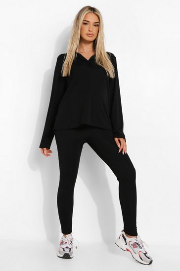 Black Maternity Button Detail Oversized Legging Set