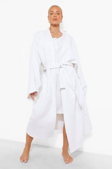 White Maternity Waffle Dressing Gown