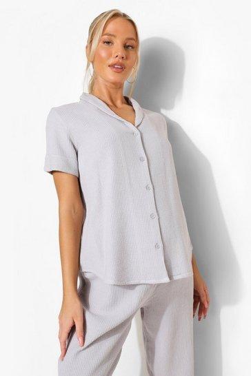 Grey Maternity Waffle Short Sleeve Trouser Set