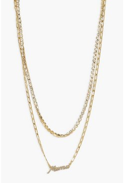 Maternity Double Layer 'Mama' Necklace, Gold metálicos