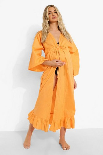 Coral pink Maternity Tie Front Beach Cover Up