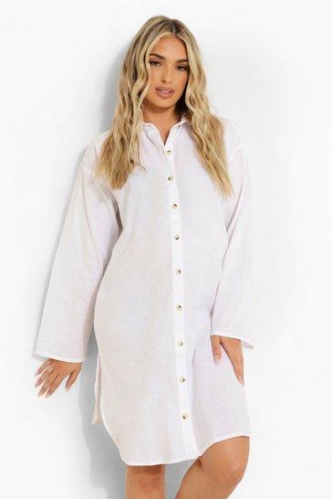 White Maternity Oversized Linen Beach Shirt Dress