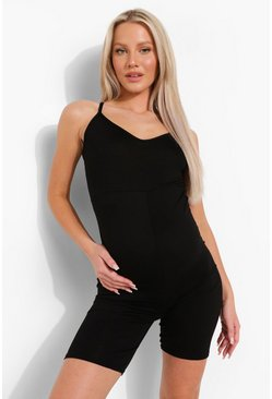 Black Maternity Strappy V-neck Lounge Short Romper
