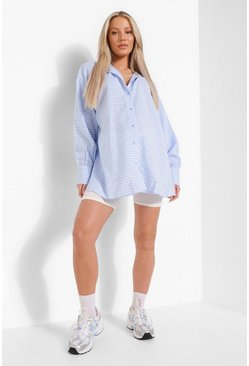 Blue Maternity Oversized Pastel Gingham Shirt