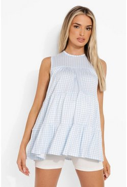 Blue Maternity Gingham Tiered Tunic