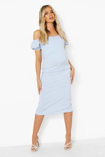 Blue Maternity Puff Sleeve Off The Shoulder Dress