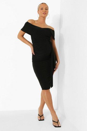 Black Maternity Off The Shoulder Tie Waist Dress