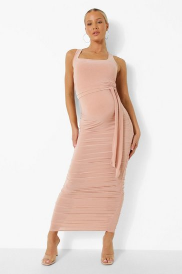 Rose pink Maternity Square Neck Ruched Midi Dress