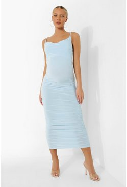 Blue Maternity Strappy Cowl Ruched Midi Dress