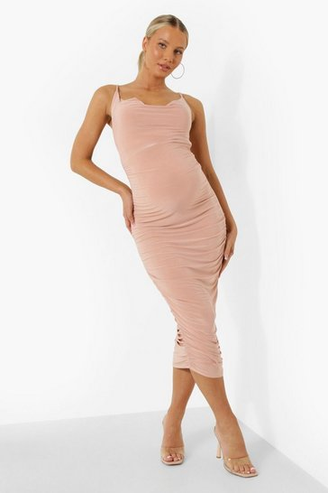 Rose pink Maternity Strappy Cowl Ruched Midi Dress