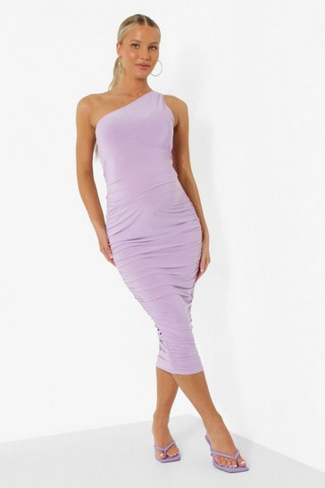 Lilac purple Maternity One Shoulder Ruched Midi Dress