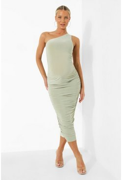 Sage green Maternity One Shoulder Ruched Midi Dress