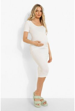 Ecru white Maternity Short Sleeve Rib Midi Dress