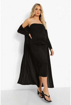 Black Maternity Bandeau Midaxi And Duster